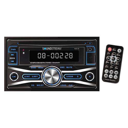 Soundstream Vcd-32 Car Cd/mp3 Player - Double Din - Black - In-dash - Lcd Display - Cd-rw, Cd-r - Cd-da, Mp3, Wma - Am, Fm - Sd - Usb - Auxiliary Input (vcd32)