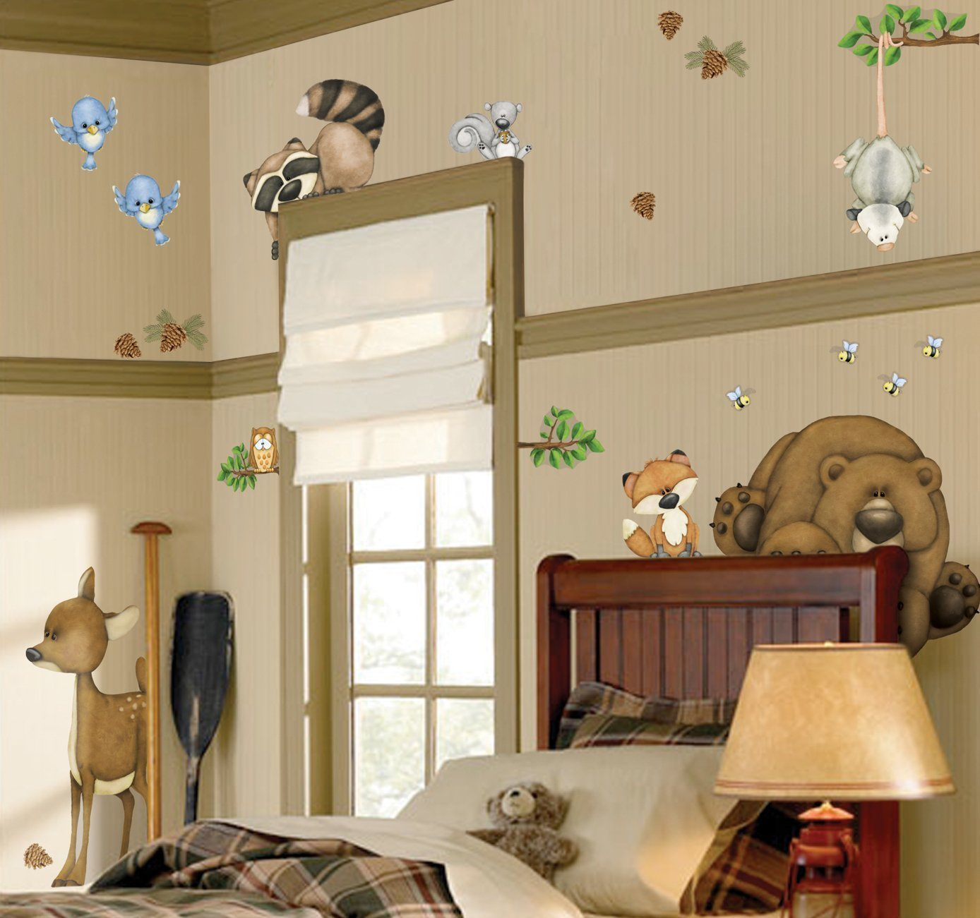 In The Woods Wildlife Animal Stickers Wall Decals Children Bedroom Decor by, Includes 26 Pieces. By Border