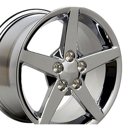 18x9.5/17x8.5 Wheels Fit Corvette, Camaro - C6 Style Chrome Rims - SET