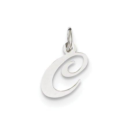 14k White Gold Small Fancy Script Initial C Charm - .3 Grams - Measures