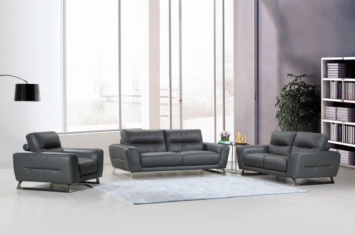 Awe Inspiring Global Furniture 485 Modern Dark Gray Genuine Italian Leather Sofa Set 3 Pcs Caraccident5 Cool Chair Designs And Ideas Caraccident5Info