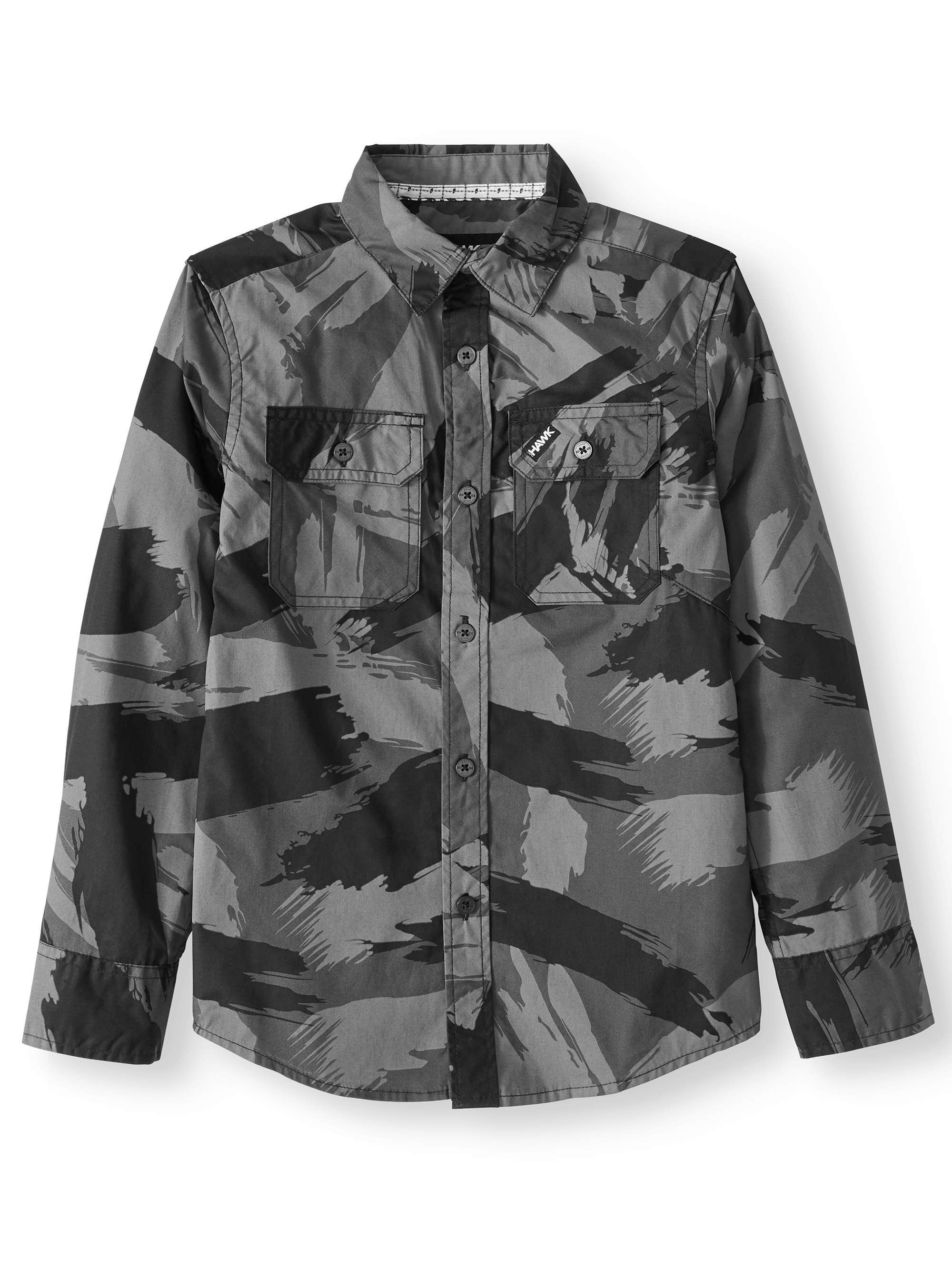 Long Sleeve Button DoAll Over Print Shirt (Big Boys)