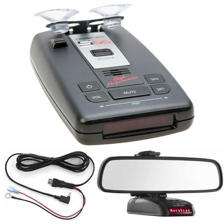 Escort PASSPORT S55 Radar/Laser Detector with Accessories Combo Bundle (Red) includes PASSPORT S55 Radar/Laser Detector, Car Mirror Mount Bracket and Direct Wire Power Cord
