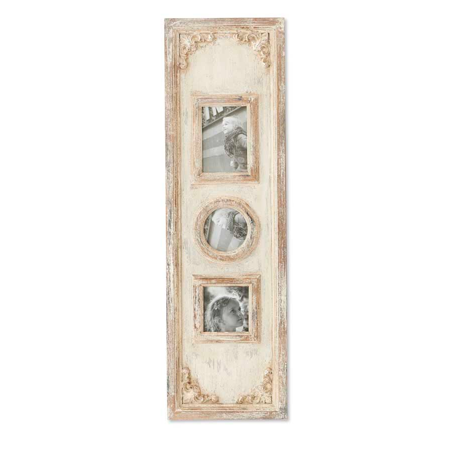 Vertical Triple Antiqued White Washed Photo Frame ()