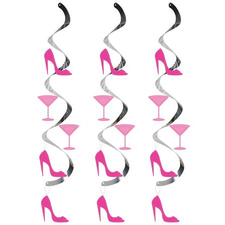 Club Pack of 60 Pink Martini Glass and High Heel Shoe Dizzy Dangler Hanging Party Decorations 24