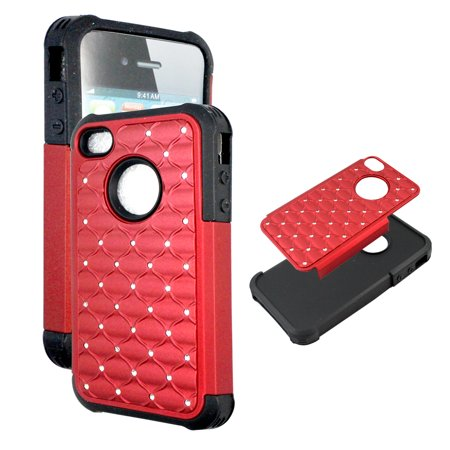Hybrid Red Crystal Diamond for Iphone 4 4S Ultra Shock Proof Slim Case Drop Protective TPU+PC Bling Case Shock Absorb Enhanced Bumper Dual Layer Designer Rhineston