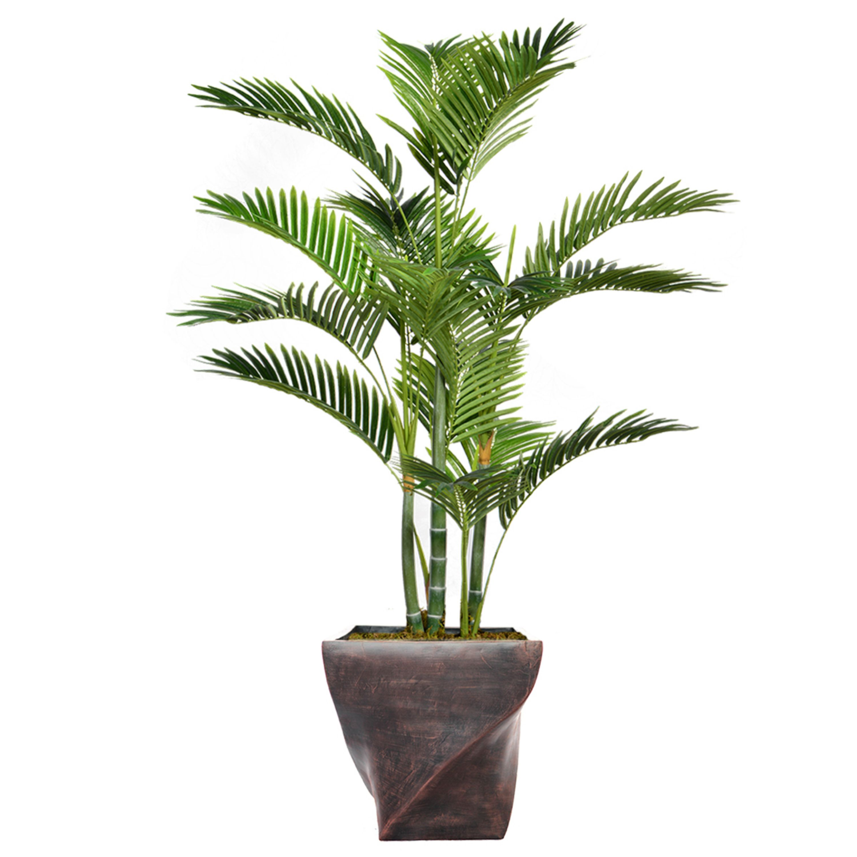 """57.5"""" Tall Palm Tree Artificial Indoor/ Outdoor Decorative Faux with Burlap Kit and Fiberstone Planter By Minx NY"""