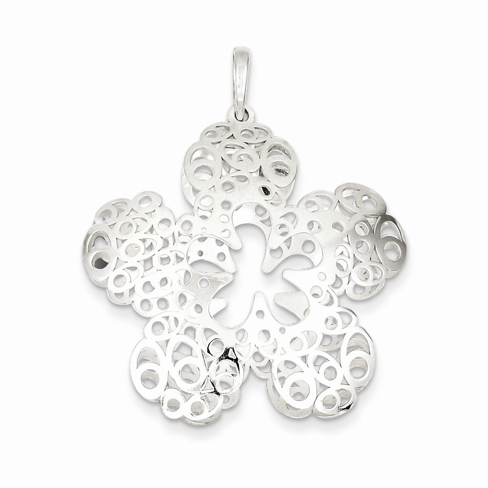Sterling Silver Polished Fancy Filigree Flower Pendant