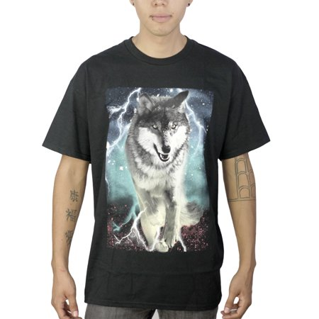 Tony hawk lightning wolf men 39 s black t shirt new sizes l for Amazon review wolf shirt