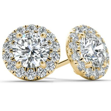 1/2 Carat T.W. Diamond 10kt Yellow Gold Halo Stud Earrings