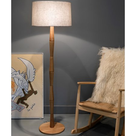 On A Wood Floor Lamp - Ktaxon Wood Floor Lamp for Living Room Bedroom Sofa,Concise Modern Creative Design E26 Socket with Cotton Fabic Drum Lampshade