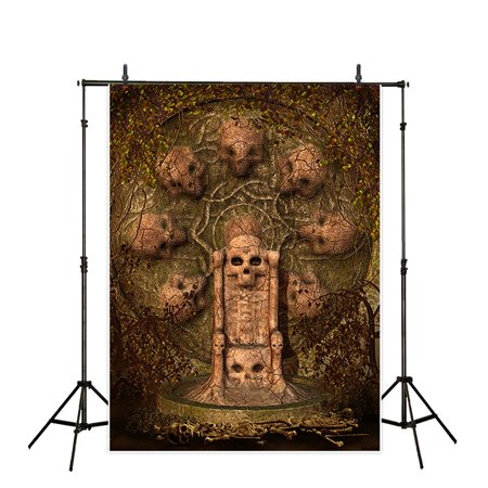 HelloDecor Polyster Halloween 5x7ft Theme terror party Backdrop background Computer Printed photography skull head altar Skeleton Rune throne photo studio backdrops prop wallpaper mural