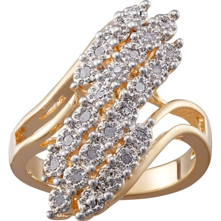 Gold Plated Diamond Accent 3 Row Bypass Ring Diamond Three Row Ring