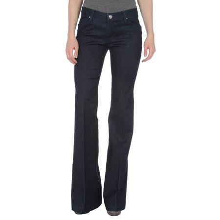 LEROCK Women's Dark Wash Wide Leg Flared Low Waist Denim Jeans NEW