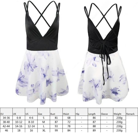 Women Floral Print Sling Dress Girls Backless Strap Dress Sexy V Neck - image 4 de 7