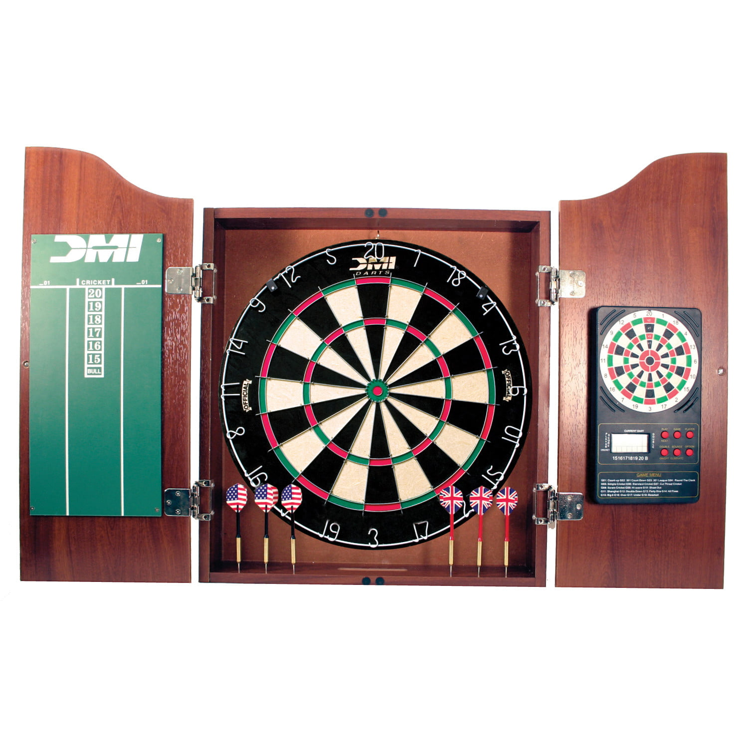 DMI Sports Deluxe Bristle Dartboard Cabinet Set with Electronic Scorer Includes 2 Dart Sets and a Chalk Scoreboard �... by DMI Sports