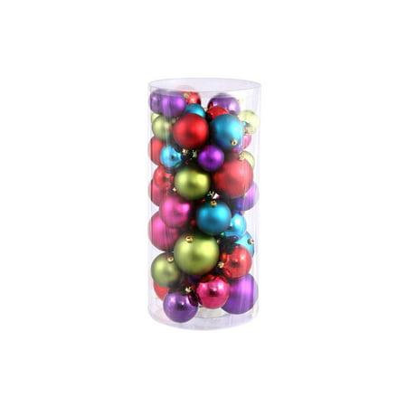 50ct Multi-Color Shiny & Matte Shatterproof Christmas Ball Ornaments 2.4