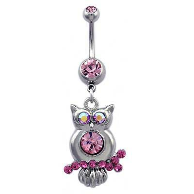 Piercing Belly Button Piercing Barbell Owl with Glasses 316L Surgical Steel
