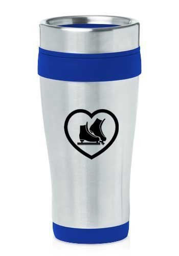 Blue 16oz Insulated Stainless Steel Travel Mug Heart Ice Skates,MIP by