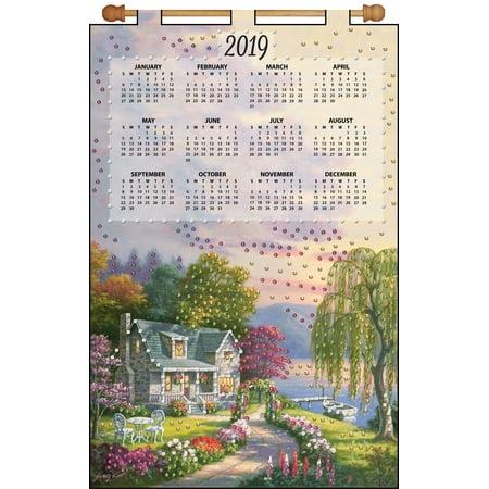 Design Works 2019 Calendar Felt Applique Kit-Cottage - Felt Jeweled Calendars