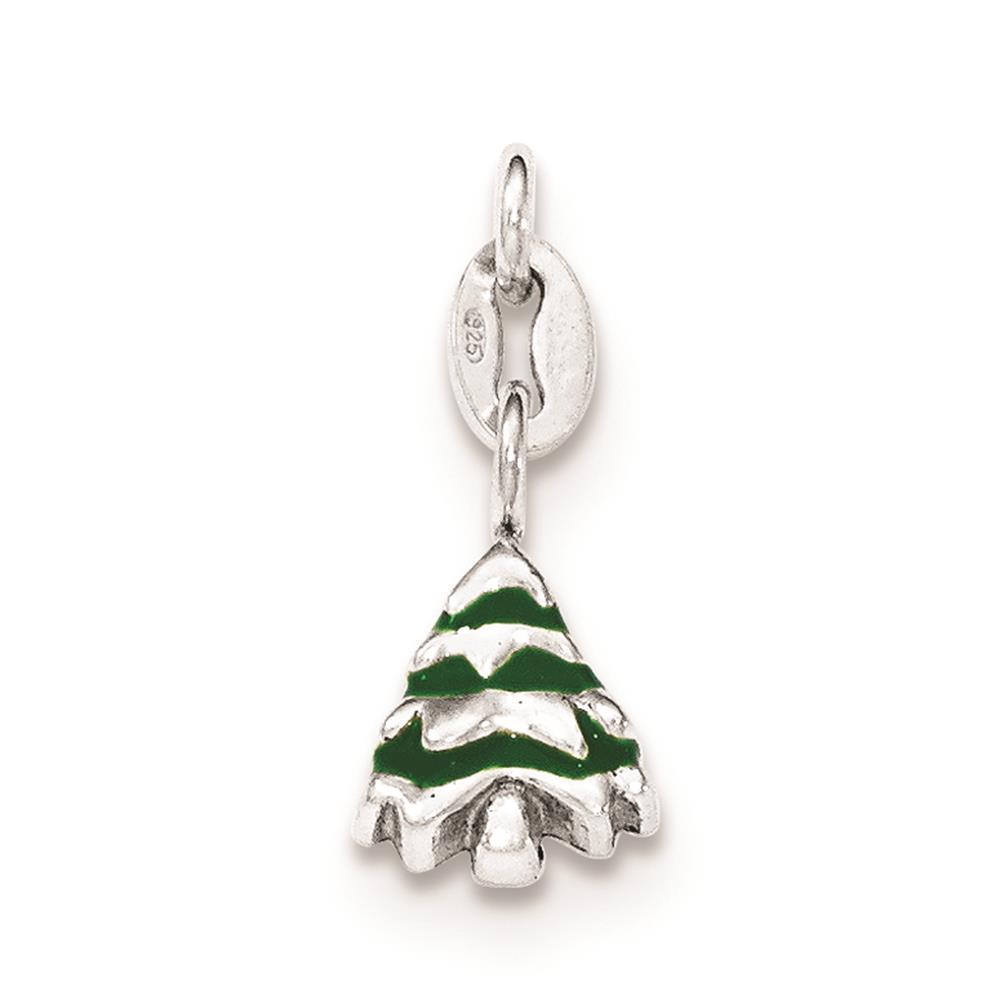 925 Sterling Silver Polished Enamel Christmas Tree Open-back Charm Pendant