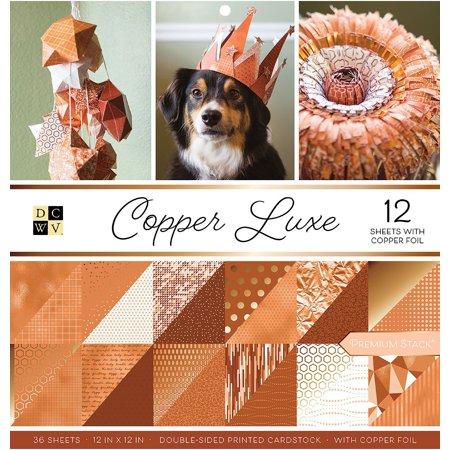 """DCWV Double-Sided Cardstock Stack 12""""X12"""" 36/Pkg-Copper Luxe W/Copper Foil"""