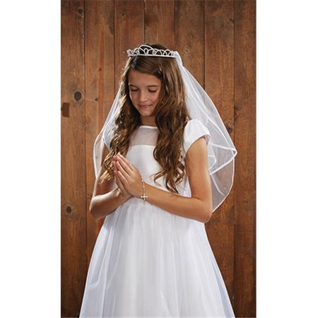 CB Catholic YT075 Pearl Tiara First Communion Veil](First Communion Veils With Tiaras)