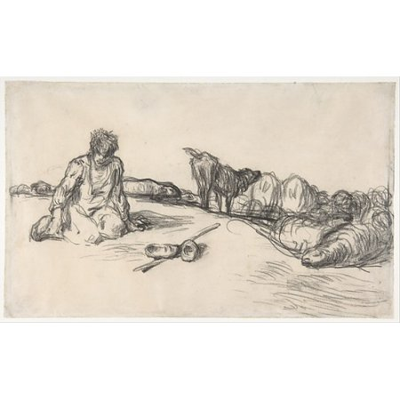 Seated Sheep (A Seated Shepherd with His Dog and Sheep Poster Print by Jean-François Millet (18 x 24))