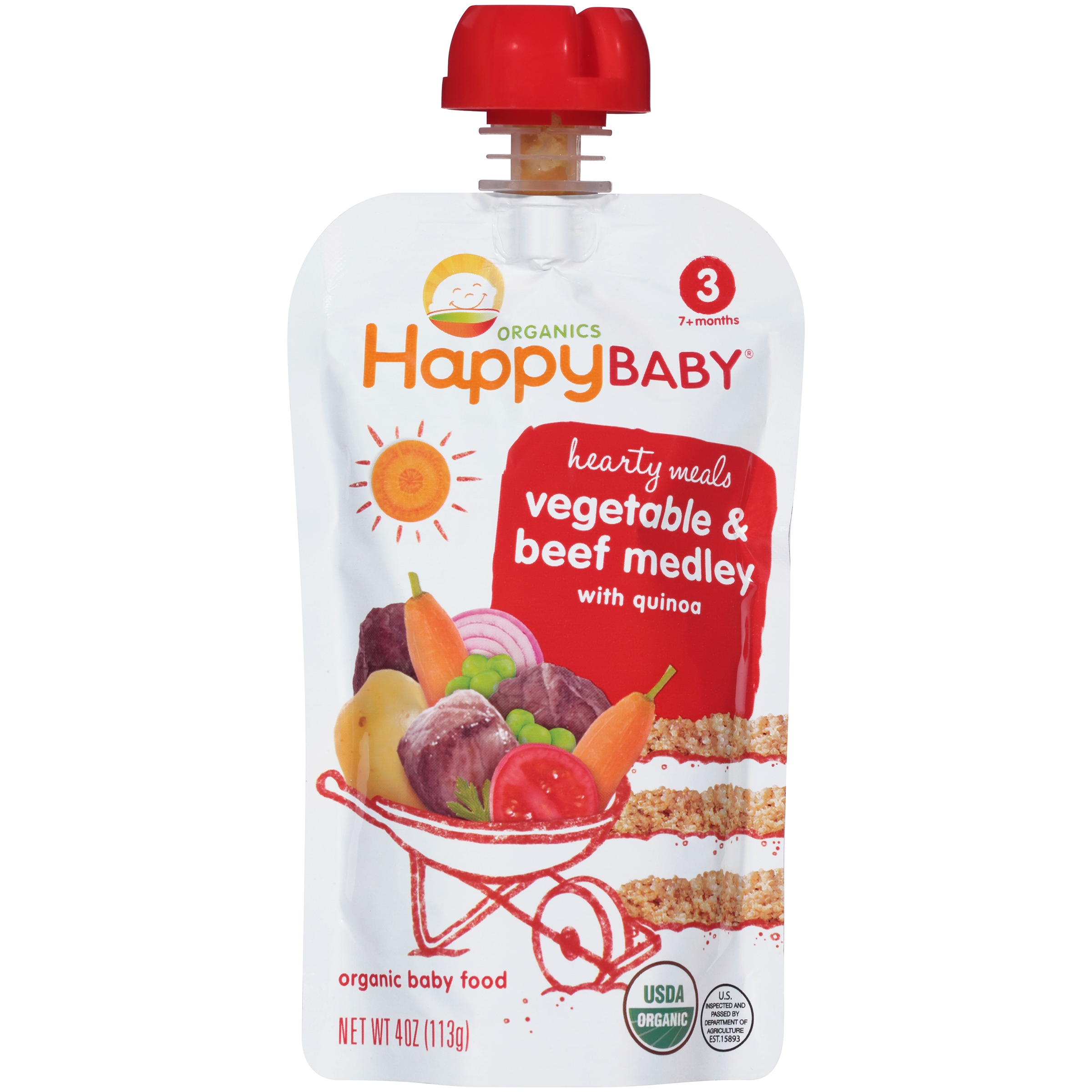 Happy Baby Hearty Meals Vegetable & Beef Medley with Quinoa Organic Baby Food 4 oz. Pouch