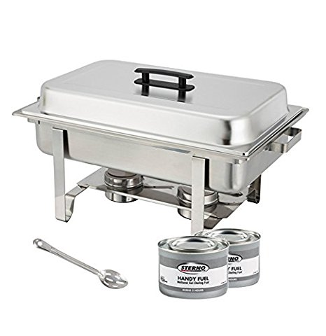 Winware Set of 2 Stainless Steel Full Size Chafer, 8 Quart Chafing Dish Set with 4 Chafing Dish Methanol Gel Fuel and 15-Inch Stainless Steel Slotted Serving Spoon