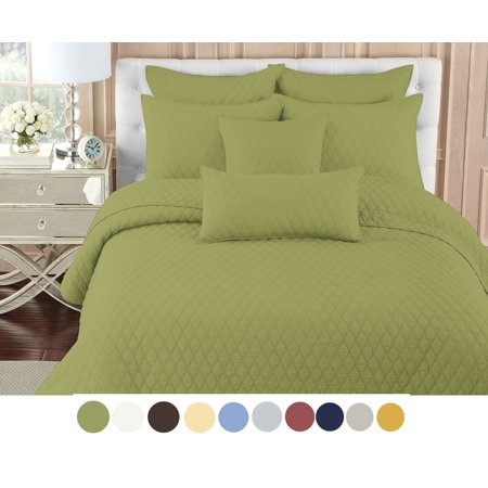 nc home fashions contour solid color quilt set king fern