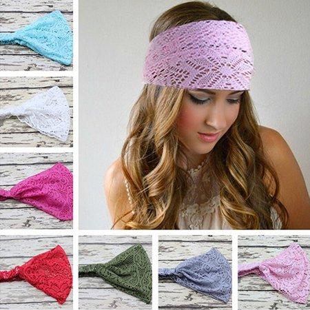 Girl12Queen Girl's Fashion Stretchy Wide Lace Headband Turban Headwrap Bandanas Hairband