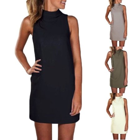 Women Summer Sexy Party Dress Elegant Sleeveless Turtleneck Mini Dress