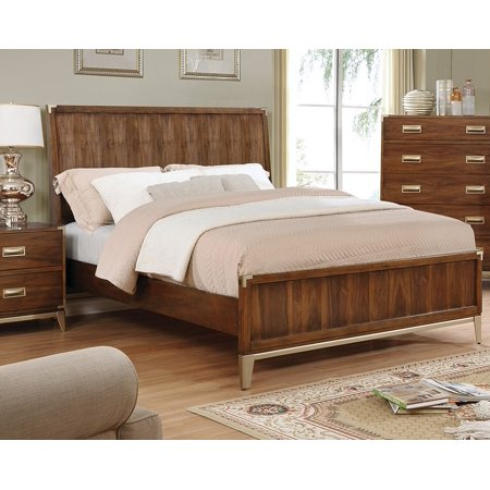 new product fd11e dc943 Master Bedroom 1 piece Eastern king Size Bed Platform Modern Style Bedframe  Dark Oak Finish Solid wood HB FB Rails