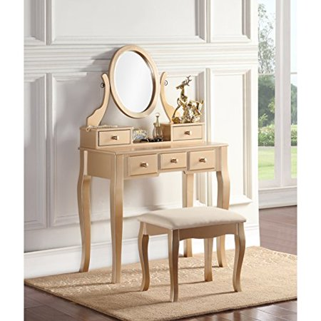 ModHaus Living Modern Transitional Wood Vanity Table and Stool with 5 Drawers and Oval Mirror - Includes Pen (Living Room Vanity)