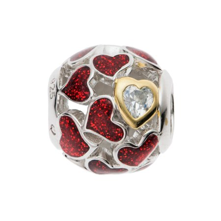 Rhodium On 925 Sterling Silver Lover Heart Infinity Love Enamel European Style Bead Charm ()