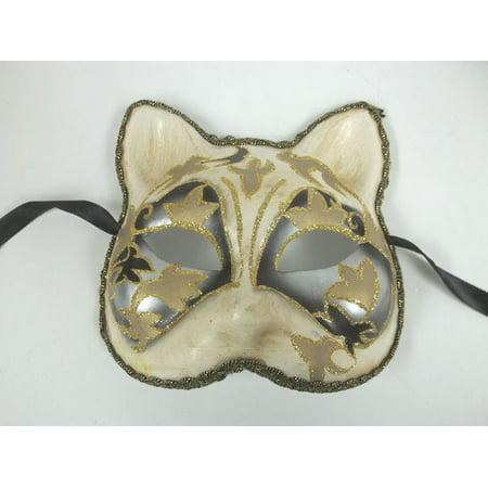 Venetian Cat Silver Black Beige Paper Mache Masquerade Mardi Gras Mask Halloween