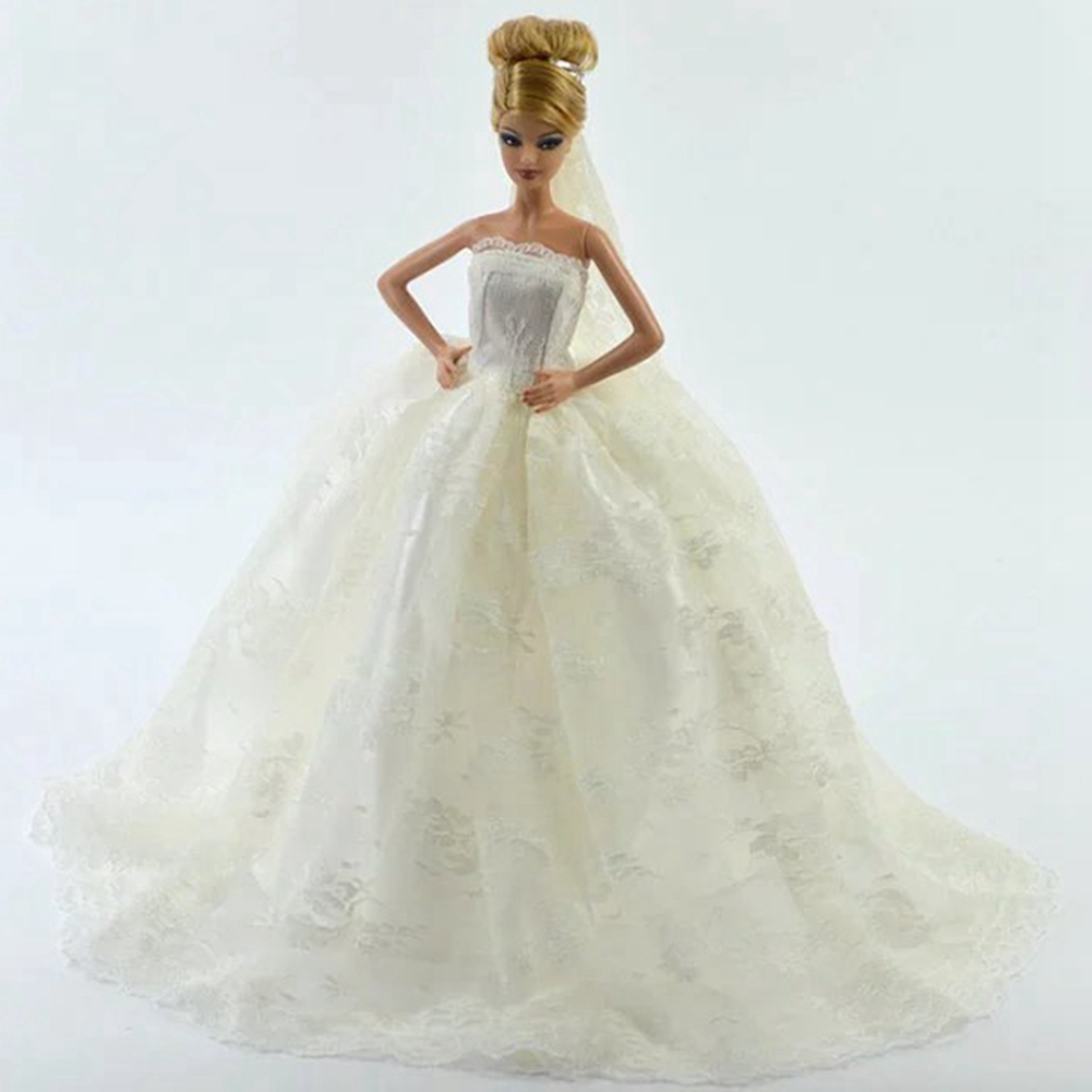 White Fashion Gorgeous Wedding Bridal Gown Dress with Veil For Doll Gift - image 4 of 4