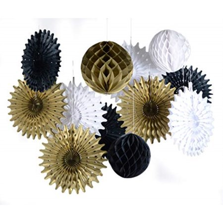 paper jazz Black White Gold Honeycomb Ball Fan for Retirement Wedding Birthday Anniversary Graduation New Year Party Decoration (Decoration For New Year)