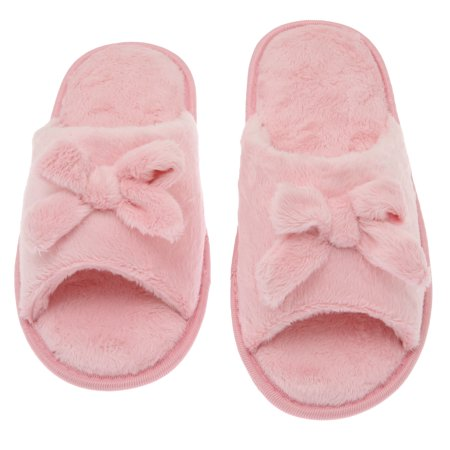 0a0374dd8 Deluxe Comfort Women's Butterfly Bow Slip-On Memory Foam House Slippers,  Size 9-10 – Open Toe – Pamper Your Feet with Cozy Fleece Memory Foam –  Durable ...