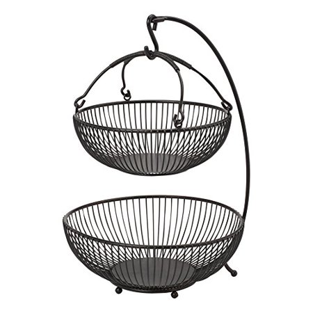 Gourmet Basics by Mikasa Spindle 2-Tier Adjustable Basket with Banana Hook, Antique Black