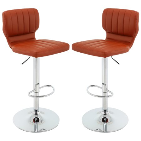 Rust PU Adjustable Height Barstool with Chrome Base and Footrest Square Chrome Footrest