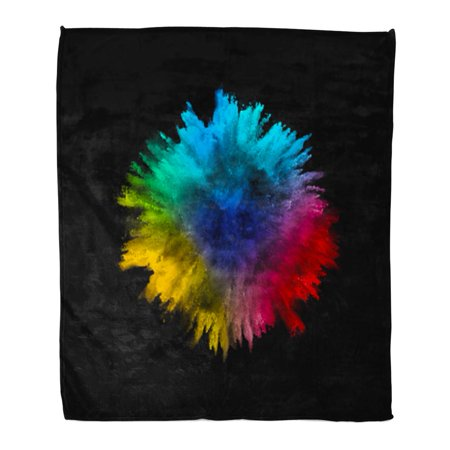 ASHLEIGH Throw Blanket Warm Cozy Print Flannel Colored Explosion of Powder Flying in Different Directions Comfortable Soft for Bed Sofa and Couch 58x80 Inches