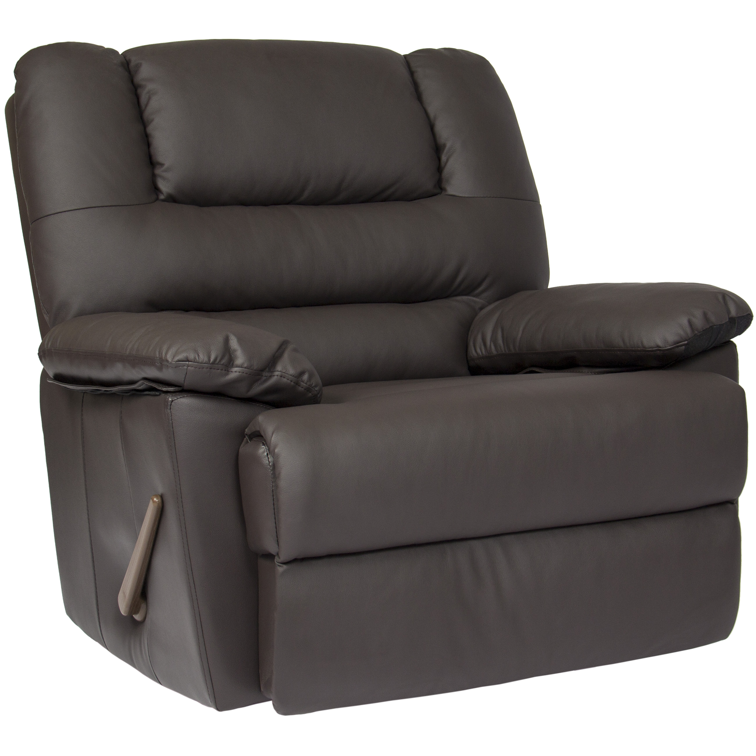 Best Choice Products Deluxe Padded Leather Rocking Recliner Chair (Brown)