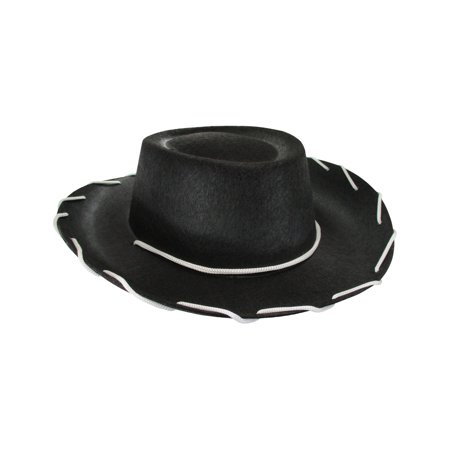 Child Western Woody Cowboy Hat Black Stitched Felt One Size Wild West - Western Style Costumes
