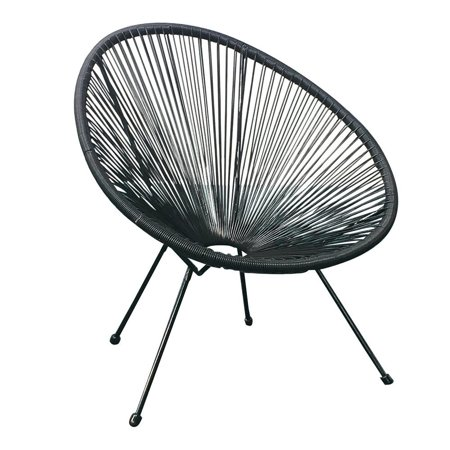Acapulco Patio Chair All-Weather Weave Lounge Chair Patio Sun Oval Chair available for Indoor Outdoor,1 Piece,Black ()