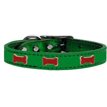 Red Bone Widget Genuine Metallic Leather Dog Collar Emerald Green 16