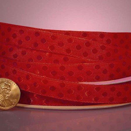 Red Beautiful 3/8 inches x 25 yards Glossy Shiney Polka Dot Satin Decorative Ribbon