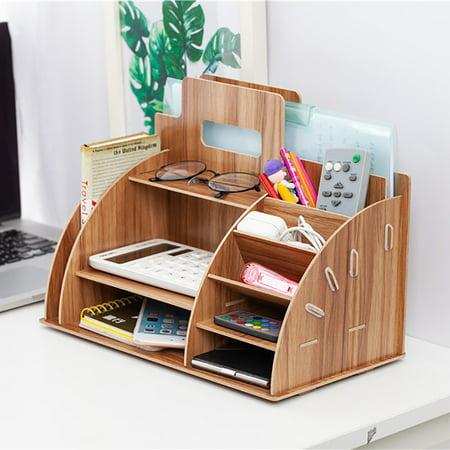 Wooden Desktop Organizer Office Supplies Storage, Wooden Desk ...