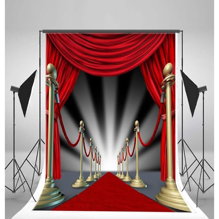 HelloDecor Polyster 5x7ft Backdrop Photography Background Luxurious Stage Light Red Carpet Scene Backdrop, for Photo Studio Props